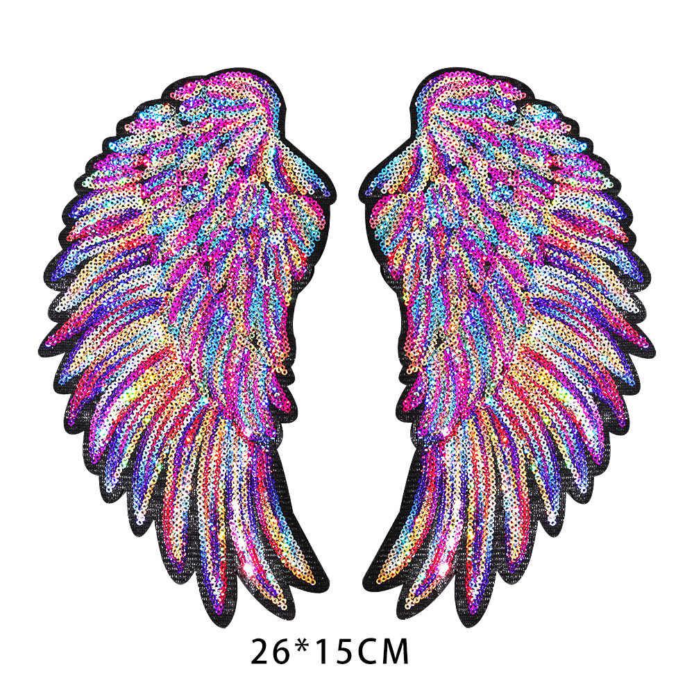 Yeni renkli gökkuşağı tüy kanatları pullu İşlemeli yamalar üzerinde demir dikmek rozetleri giysi Diy aplikler Craft dekor çıkartmalar