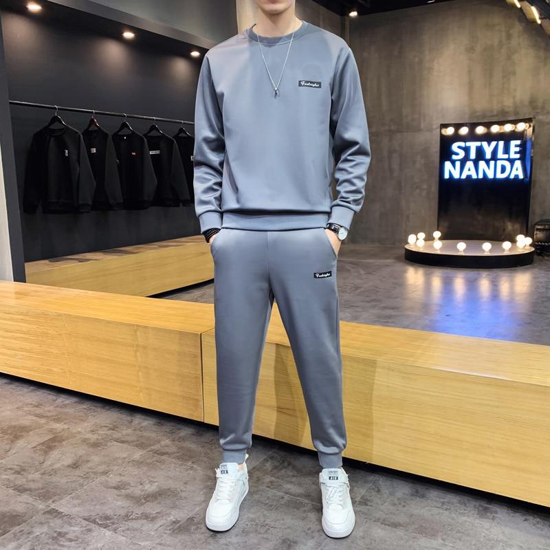 Autumn New Men Casual Solid Sets Splice Jogger Tracksuit Sweatshirts+Pants 2PC Sets Men's Sportswear Sport Suit Clothing D3010