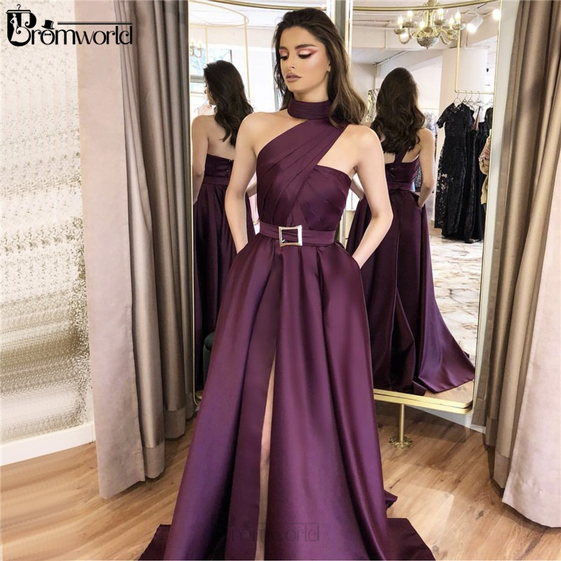 Elegant Purple Prom Dresses Long With Pockets A-Line One Shoulder Slit Satin Party Prom Dress 2020 Robe De Soiree Evening Gowns