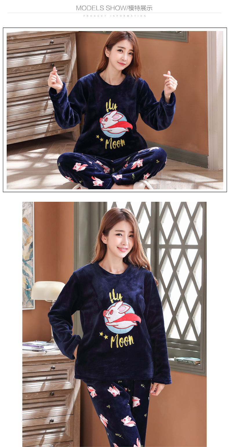 Long Sleeve Warm Flannel Pajamas Winter Women Pajama Sets Print Thicken Sleepwear Pyjamas Plus Size 3XL 4XL 5XL 85kg Nightwear 377