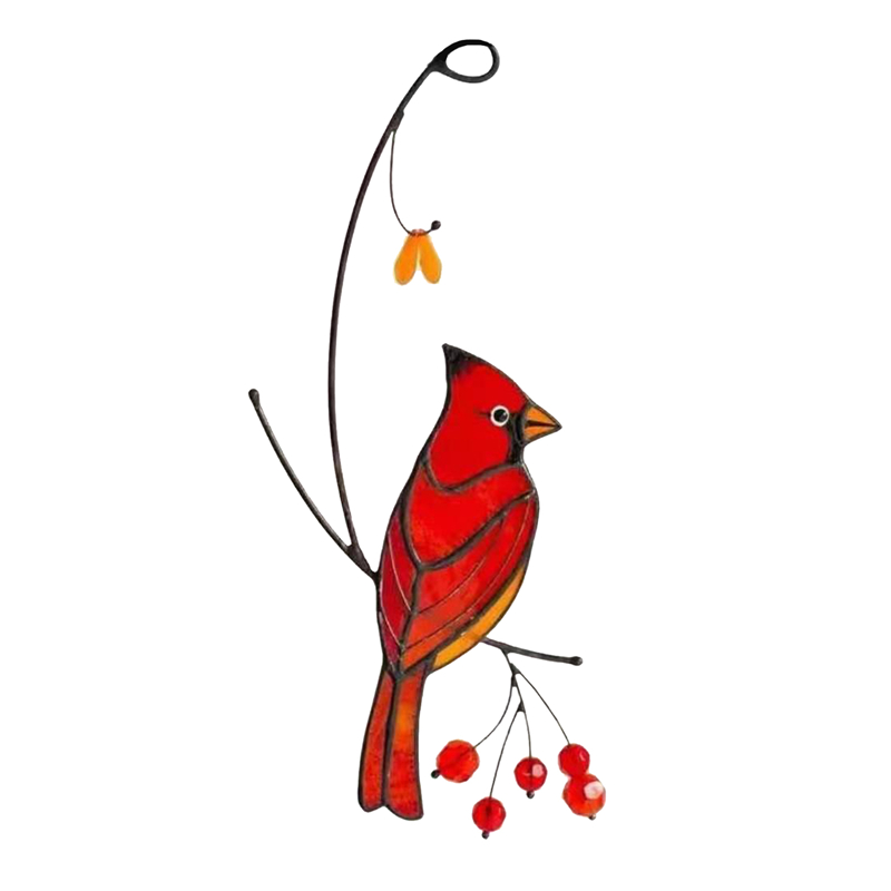 Style 1-Cardinals Birds Stained Glass Ornament Hanging Layout Home Decor Wedding Room Decor