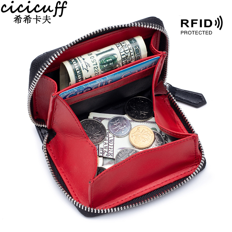 9.42US $ 59% OFF Coin Purse Genuine Leather Zipper Small Purse Women Coins Wallets RFID Cow Leather ...