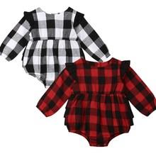 Новинка; одежда в клетку для маленьких девочек; Рождественский комбинезон; наряды