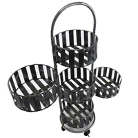 Outsunny Planter Holder Antique Style 4 Wheels 5 Pots For Flowers Metal Ф30. 5x100 cm Gray