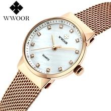 Luxury Rhinestone rose gold watches for ladies WWOOR brand f