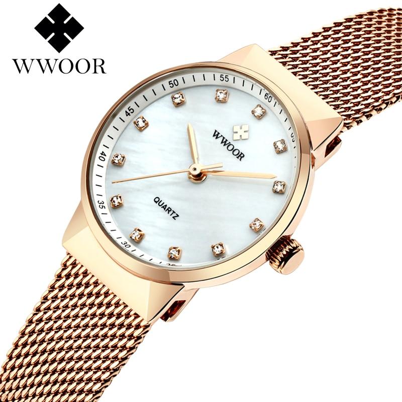 Luxury Rhinestone Rose Gold Watches For Ladies WWOOR Brand Fashion Casual Quartz Wrist Watch Female Mesh Belt Relojes Mujer 2020