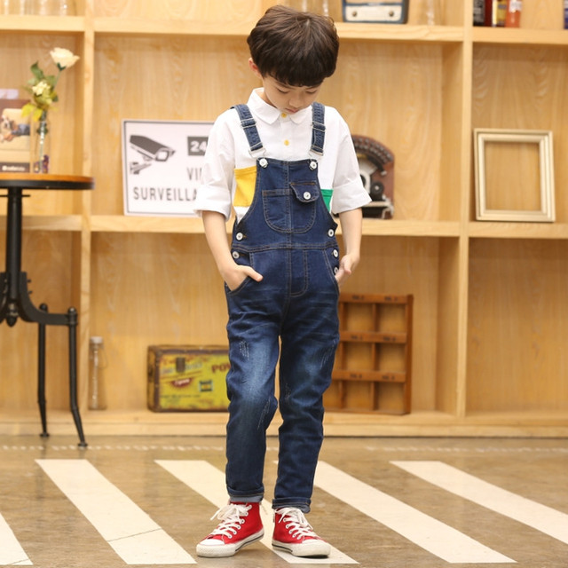 Macacão infantil, macacão jeans para meninos e meninas, bolsos de cowboy de primavera e outono, 2 2020 15t
