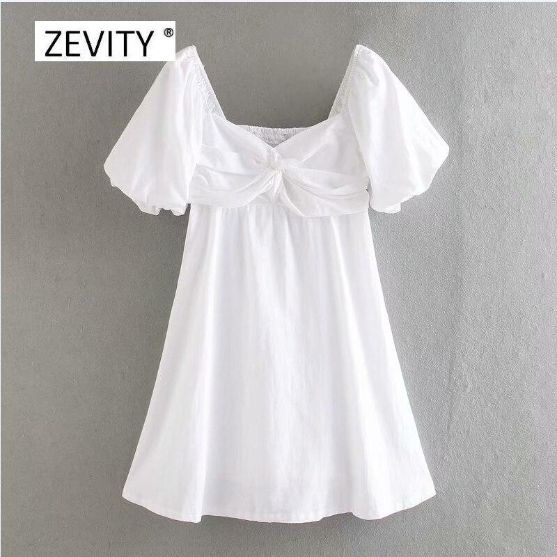 women Vintage v neck high waist white vestido knotted mini dress female side zipper chic lantern sleeve casual dresses DS4011