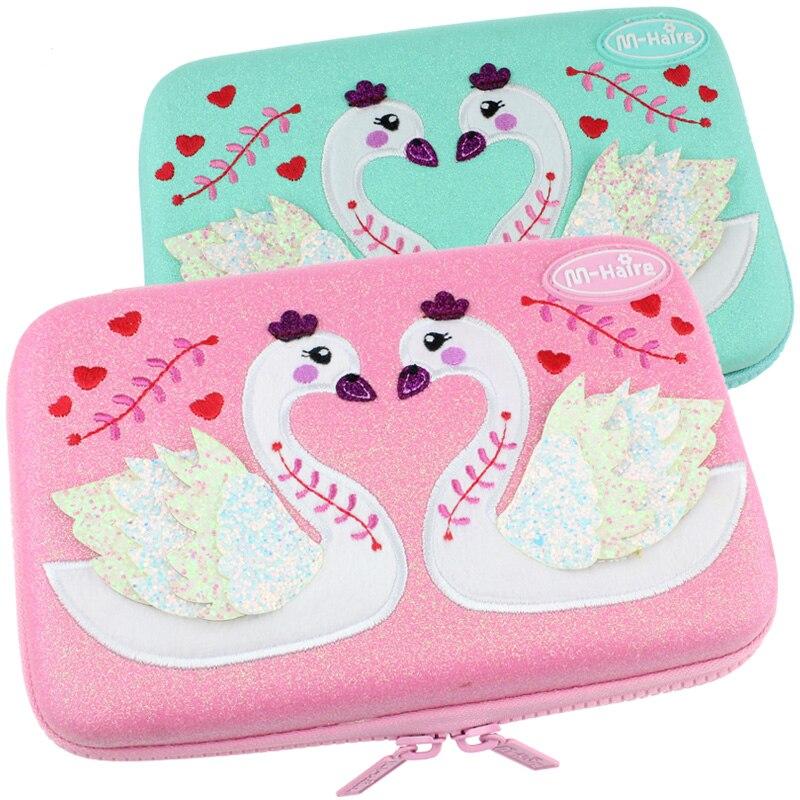 kawaii criancas lapis caso schoolgirl dos desenhos animados cisne bonito grande capacidade bordado caixa de lapis
