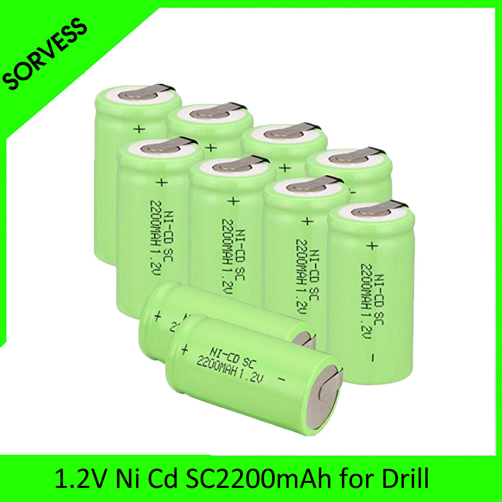 SORVESS 1-20PCS SC <font><b>NI</b></font>-<font><b>CD</b></font> battery White 3400mAh rechargeable subc battery <font><b>1.2</b></font> <font><b>v</b></font> with tab for makita dewalt for bosch OOLAPR image