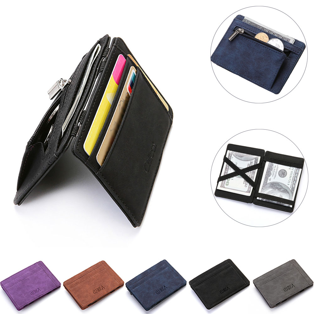 Thin Mini Wallet Men Business PU Leather Small Wallets Coin Purse Credit Card Holder Female Carteira Portfel Carte Automatically