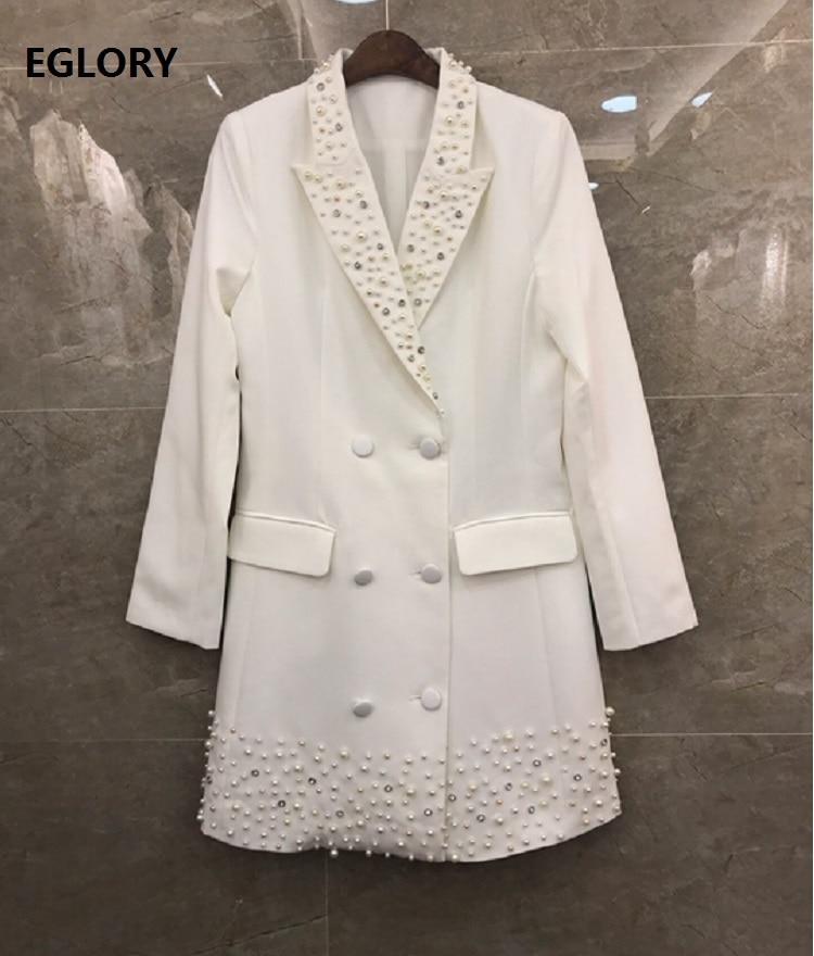 2019 Autumn Winter Fashion Long Blazer Jackets High Quality Women Notched Collar Pearl Beading Deco Elegant White Black Coats