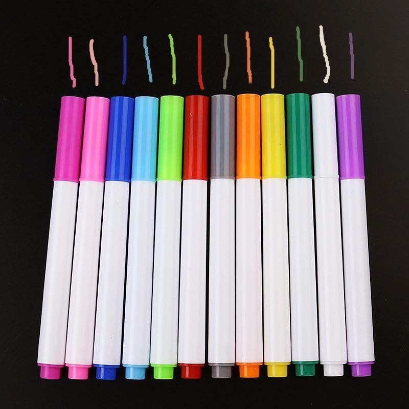 12 Pcs Colors Liquid Chalk Pens For Wall Sticker Kids Room Blackboard Erasable Non-dust Chalk Removable Marker Pen Stationery