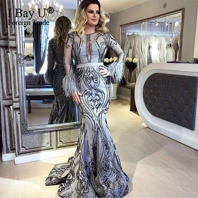 Sky Blue Dubai Design Formal Evening Dress Long Sleeves Feather Luxury Champagne Mermaid Evening Gowns 2020  Party Gowns