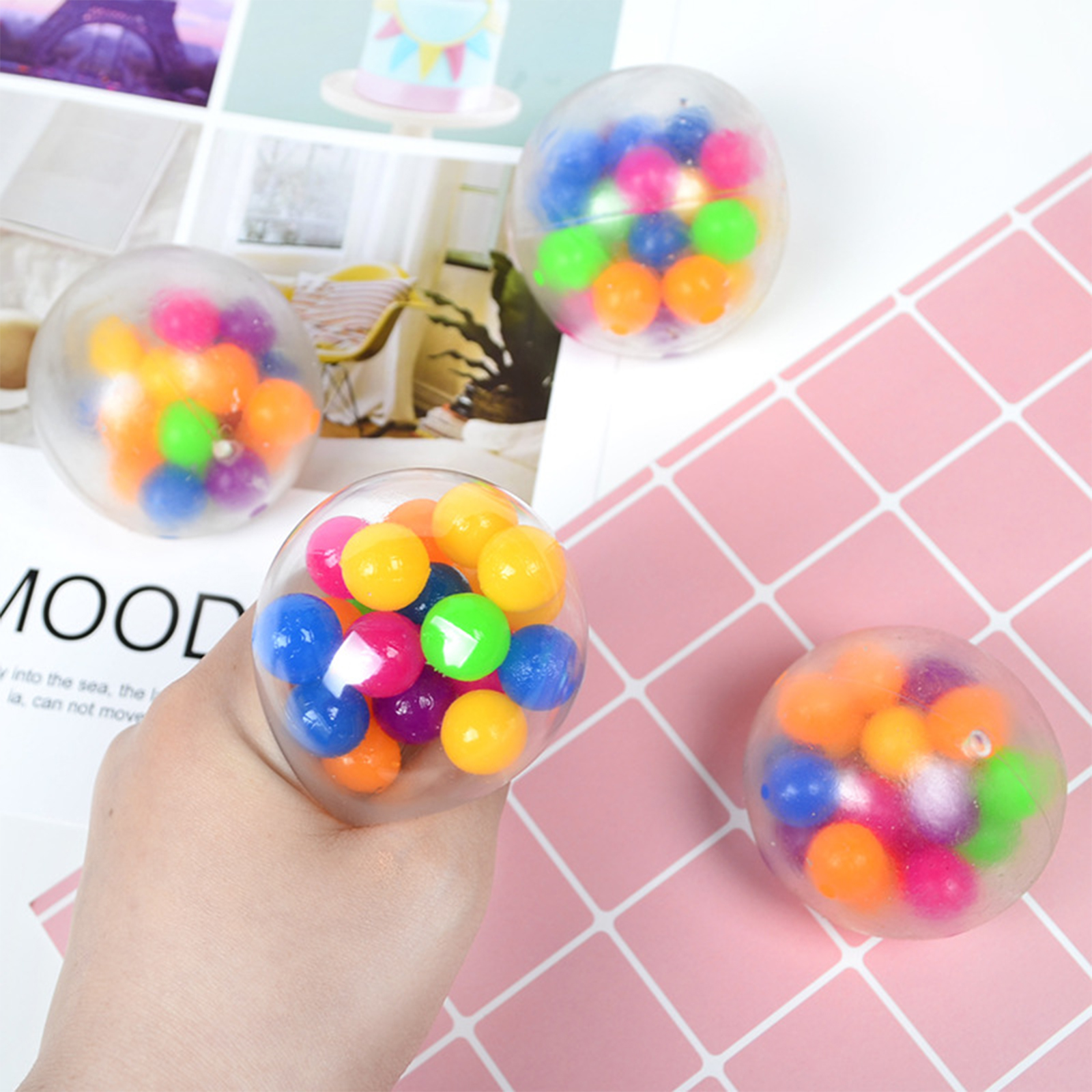 Squishy Toy Anti-Stress-Toys Rainbow-Ball Bead Squeezable-Stress Spongy Hot-Sale img2