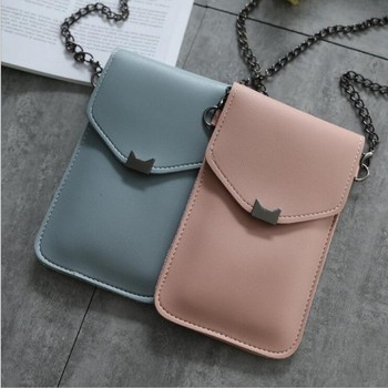 2019 New Cute PU Leather Purse Cat ear Decoration Long Wallet Purse Buckle Clutch Mobile Phone Touch screen Bag Women's Wallet