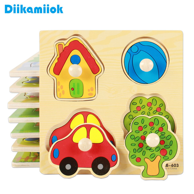 Kids Hand Grab Board 3D Puzzle Wooden Toys for Children Cartoon Animal Wood Jigsaw Toddler Baby Early Educational Learning Toy 1