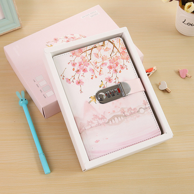 Creative 32K Cover Lockable Notebook with Lock PU Leather Writing Pads Password Code Diary School Supplies Student Gift Korea