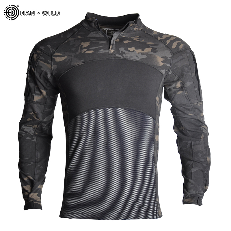 HAN WILD Army Tactical Shirts for Men Long Sleeve Outdoor Airsoft Paintball Top