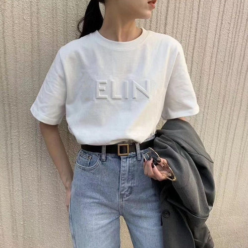 2020 summer new product hot sale three-dimensional embroidered short-sleeved T-shirt women ins trendy women's fashion tops 1