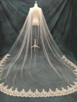 3M*3M One Layer Wedding Cloak Cathedral Length Bridal Cape Shoulder Veil In White , Ivory Bridal Accessories