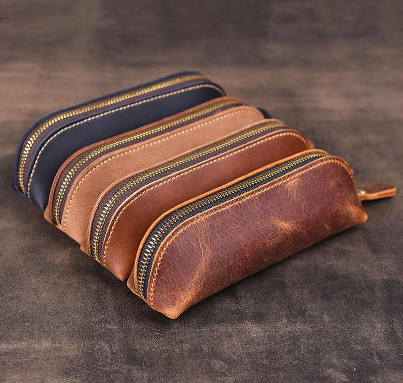 1pcs Genuine Leather Pencil Case Handmade Vintage Cowhide Pen Bag Box Zipper Pen Case for Stationery Gift Office School Supplies