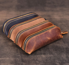 1pcs Genuine Leather Pencil Case Handmade Vintage Cowhide Pen Bag Box Zipper Pen Case for Stationery Gift Office School Supplies high quality new fashion pen pen bag leather case bag bag black for 12 pen luxury school office stationery pencil case