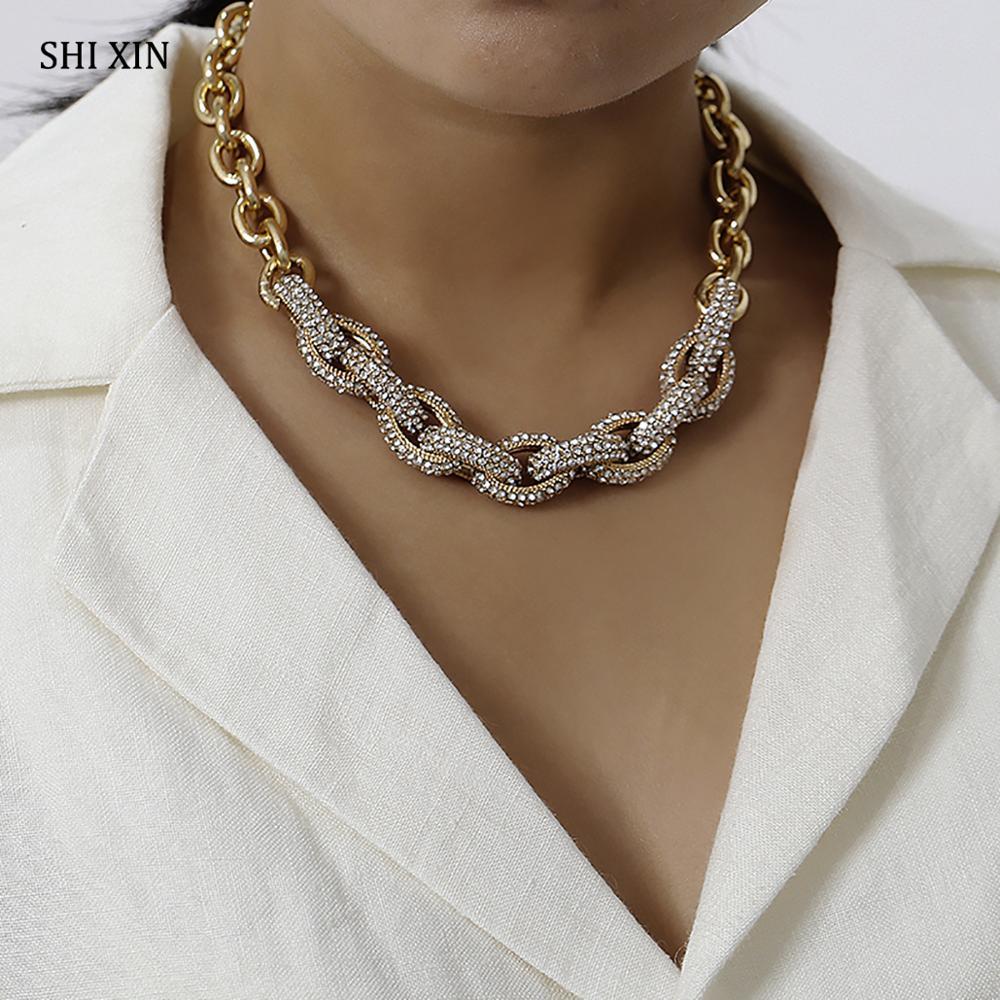 SHIXIN Punk cubain lien chaîne colliers pour femmes Hiphop cristal Collier ras du cou épais déclaration Collier court Collier Femme 2019
