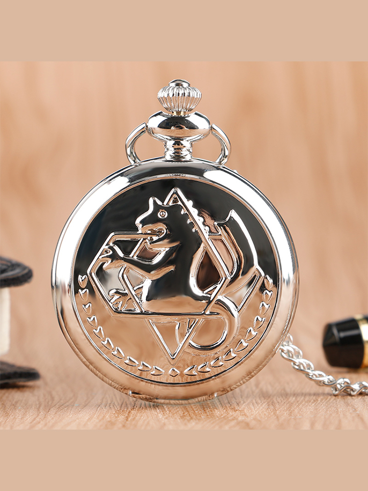 Fob Watches Clock Necklace Fullmetal Alchemist Pokemon Silver Japanese Retro Anime Gift