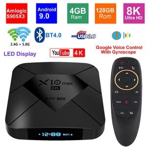 Image 1 - X10 MAX 8K TV BOX Amlogic S905X3 4G RAM 128GB ROM Android 9,0 5G Dual WIFI USB 3,0 BT 4,0 Led anzeige HDR H.265 8K Set Top Box