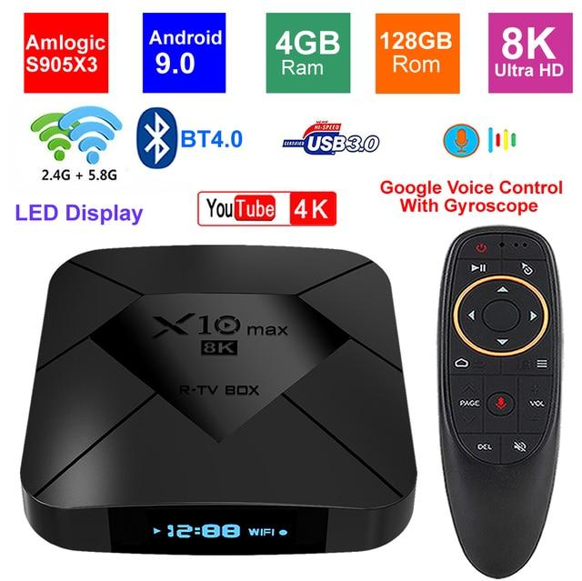 X10 MAX 8K TV BOX Amlogic S905X3 4G di RAM 128GB di ROM Android 9.0 5G Dual WIFI USB 3.0 BT4.0 Display A LED HDR H.265 8K Set Top Box