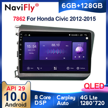 Autoradio QLED Android, 6 go/128 go, Navigation GPS, lecteur multimédia vidéo, 2din, sans Dvd, pour voiture Honda Civic (2012 – 2015)