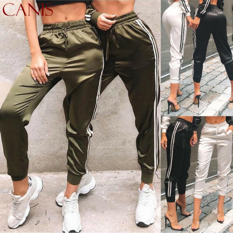 Women Ladies Casual Long Pant Stripe Elegant Fitness Track Pants Harajuku Trousers Streetwear Pantalon Femme Dames Kleding