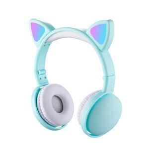 Image 5 - הגעה חדשה LED חתול אוזן אוזניות חכם רעש ביטול Bluetooth 5.0 אוזניות מבוגרים וילדים אוזניות עם מיקרופון 3.5mm תקע