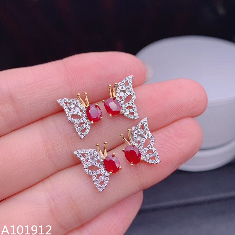 KJJEAXCMY Supporting detection 925 sterling silver natural ruby girls earrings support detection