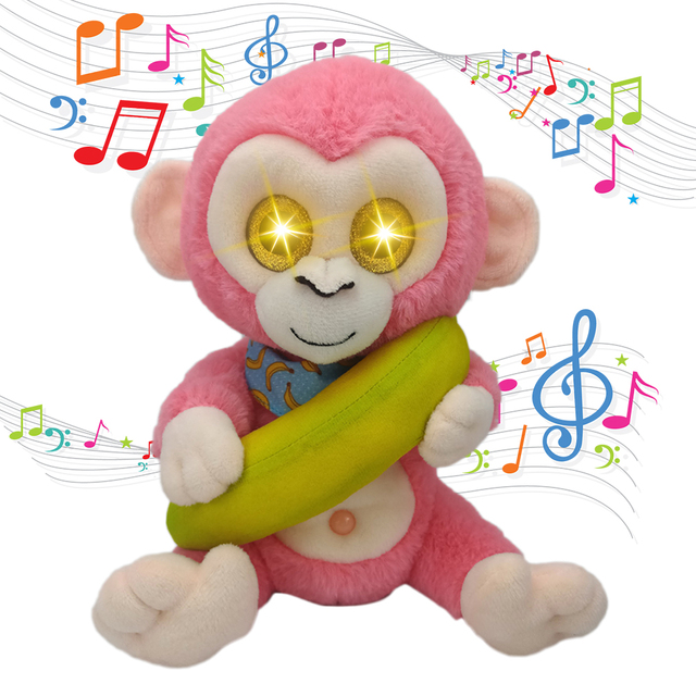 US $15.24 35% OFF Kreskówka elektryczna rozmowa małpa miękka zabawka oświetlenie oko kreskówka małpa banan pluszowa zabawka powtarza to, co mówisz