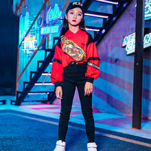 Girls Jazz Dance Costume Hip Hop Red Tops Black Pants Children Street D
