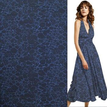 Fshion deep blue stripe silk Crepe DE chine fabric 16momme 55
