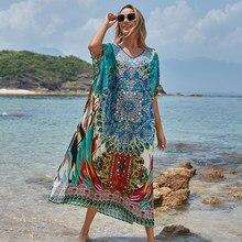 Vestido largo de talla grande para Mujer, Pareos de Playa, ropa de baño para Mujer, 2020