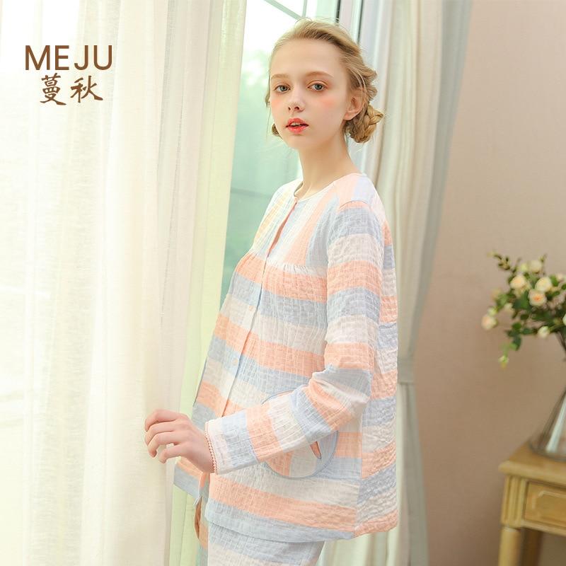 Meju Women's Long-sleeve Suit Pajamas 100% Cotton Gauze Thin Home Wear