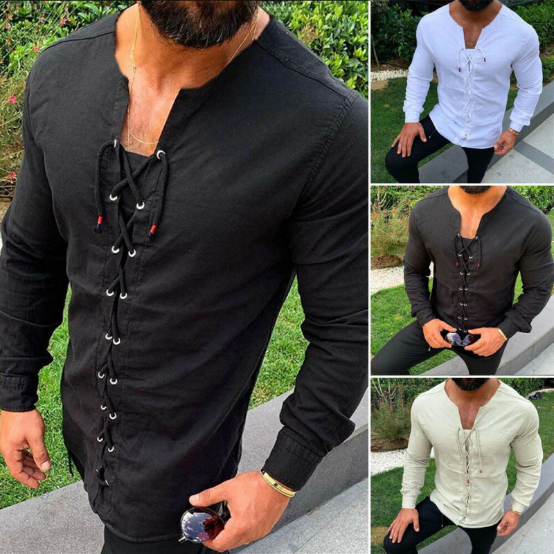 New Men Cotton Linen Slim Shirts Long Sleeve Lacing Belt Pullover Fitness Shirts Male Tops Muscle Casual Shirt Blouse Plus Size