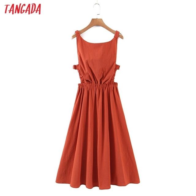 Tangada Women Solid Color Backless Beach Midi Dress Strap Sleeveless 2021 Fashion Lady Dresses Vestido 1M32 2