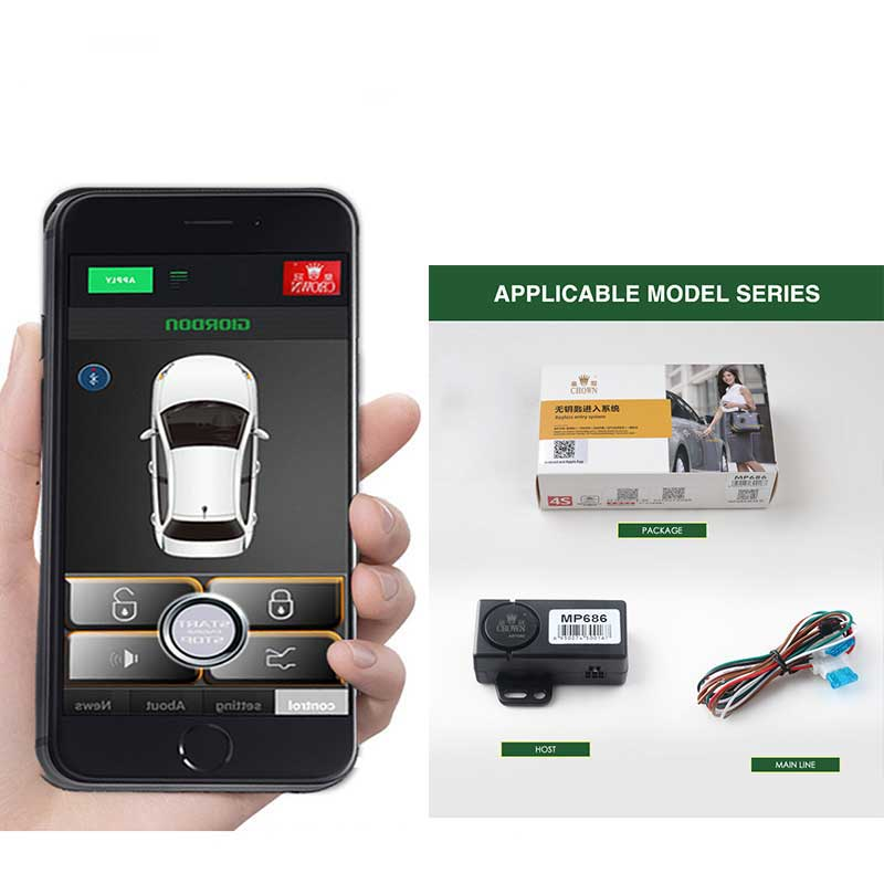 80-100M Smart Key Lgnition Shaking Shock Sensor Car Alarm system Bluetooth Keyless Entry Automatic Trunk Opening <font><b>MP686</b></font> image