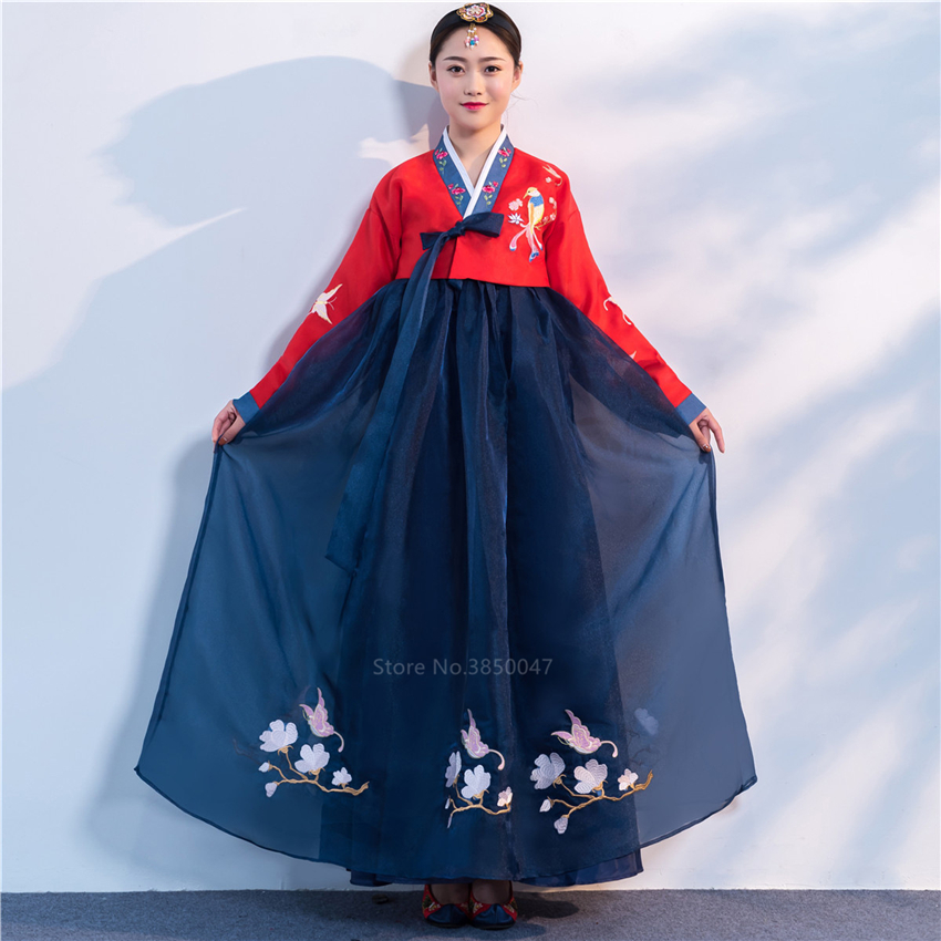 Orthodox Hanbok Folk Women Traditional Costume Korean Dress Elegant Princess Palace Costume Korea Emboridery Wedding Party