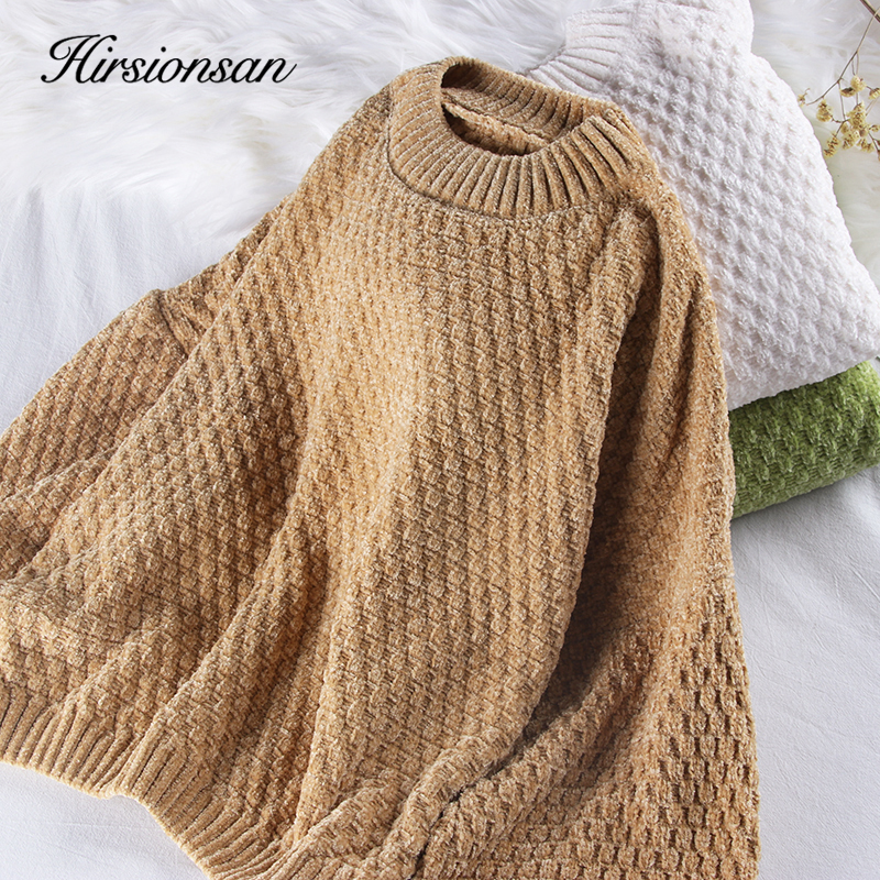 Hirsionsan Chenille Lantern Sleeve Solid Sweater Women Christmas Knitted Loose O Neck Warm Jumper Oversize Short Basic Pullovers