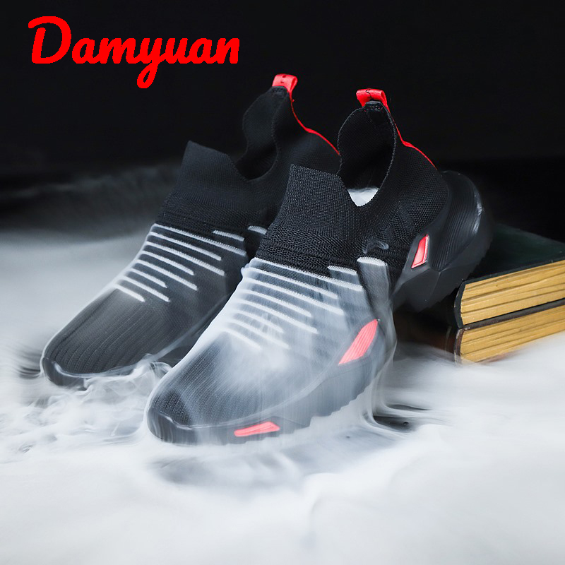 Summer New Air Permeable Men's Running Shoes With Flying Knitting Comfort Increase Sneakers Outdoor Jogging Casual Shoes Size 46