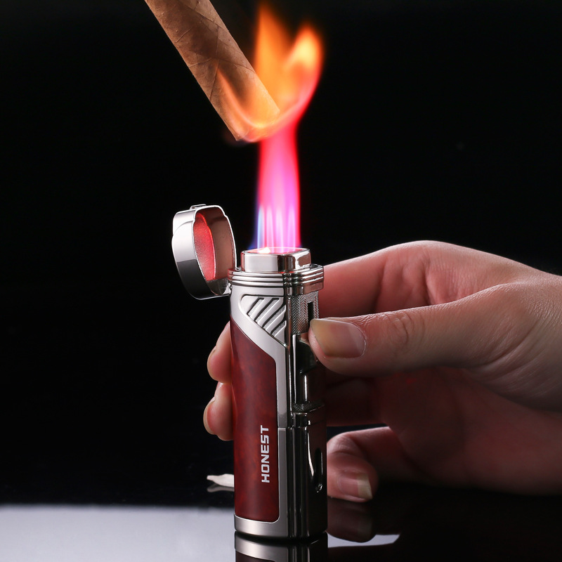 HONEST 4 Jet Flame Metal Cigar Lighter Butane Cigarette Torch Arc Lighter Lighter Gadgets For Gifts