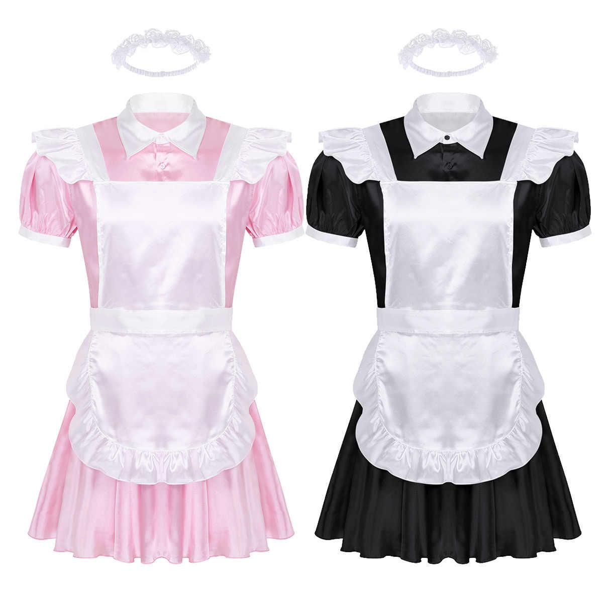 Nam Ẻo Lả Người Hầu Gái Đầm Đen Trang Phục Hóa Trang Crossdressing Cổ Bẻ Tay Phồng Trước Nút Xuống Đầm Và Tạp Dề dây Đeo Đầu