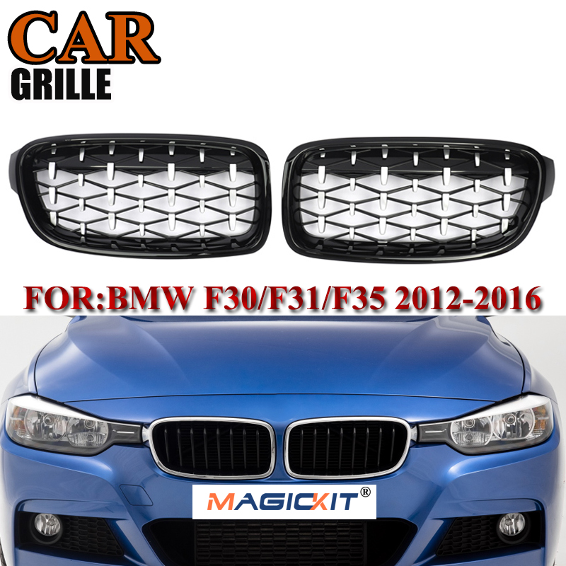 MagicKit 1 Pair For BMW F31 <font><b>F30</b></font> Car Styling <font><b>Grill</b></font> M3 Style Kidney Replacement Grille 2012-16 320i 328i 330i 335i Chrome Diamond image