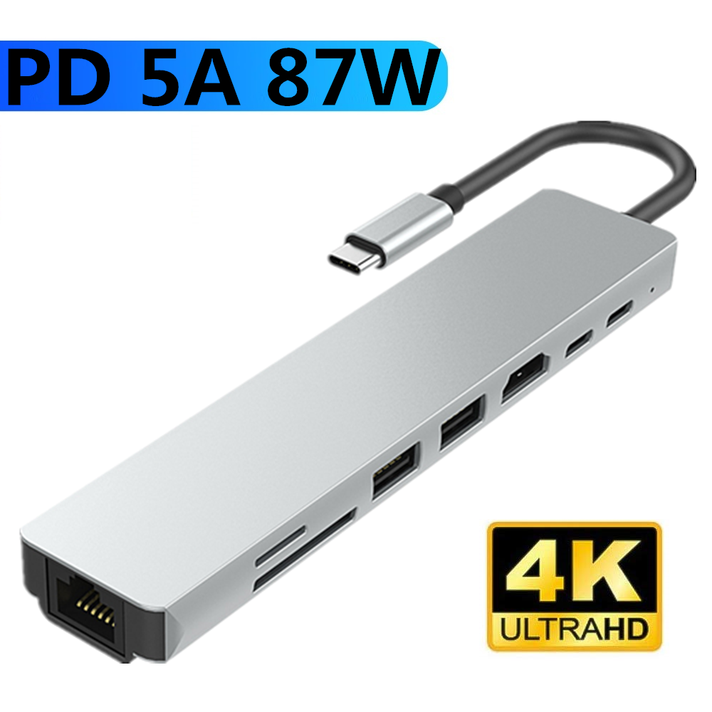 Type C To HDMI Hub USB C 4K PD 5A 87W Dock Rj45 Lan USB 3.1 Splitter USB-C Power Delivery Accessories For IMac Air MacBook Pro